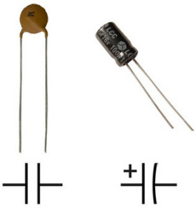 Capacitor with symbol