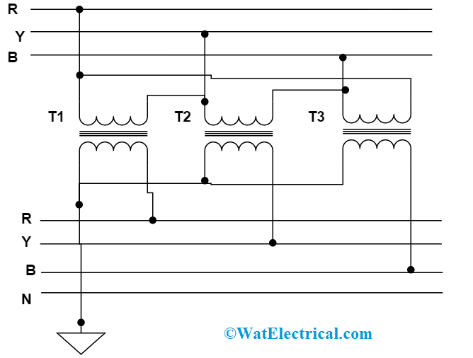 Delta Star Connection in Three Phase Transformer