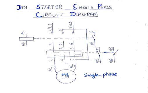 What is Direct Online Starter (DOL)? Working Principle ...  Phase Pressor Starter Diagram Wiring Schematic on 3 phase transformer wiring, 3 phase starter switch, 3 phase starter motor, 3 phase magnetic starter, 3 phase wye phasor diagram, 3 phase heater diagram, 3 phase to single phase motor wiring, three wire diagram, single line electrical diagram, 3 phase ac motor wiring, 3 phase wiring schematic, 3 phase wiring chart, 3 phase relay diagram, 3 phase voltage diagram, 3 phase power diagram,